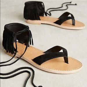 MORENA Gabbrielli/ Anthro Suede Fringe Sandals